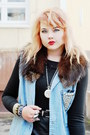 Silver-clock-necklace-black-leather-tail-dress-light-blue-denim-vest