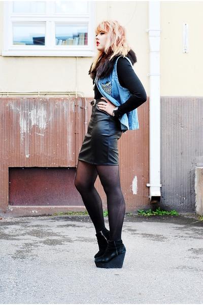silver clock necklace - black leather tail dress - light blue denim vest