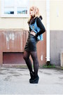 Black-leather-tail-dress-light-blue-denim-vest