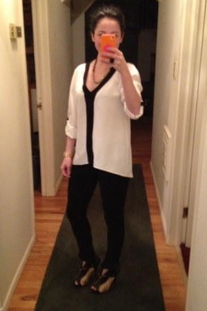 black booties Alexander McQueen boots - white Zara shirt