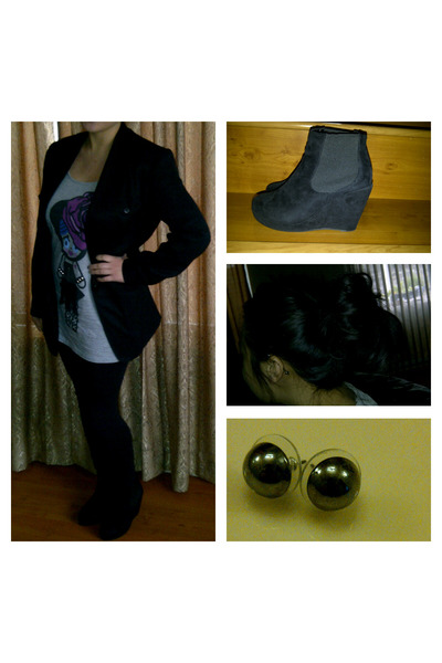 black cotton on wedges - black Forever 21 leggings - black thrifted blazer