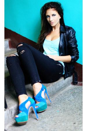 Bershka top - BLANCO jeans - Zara jacket - dune heels