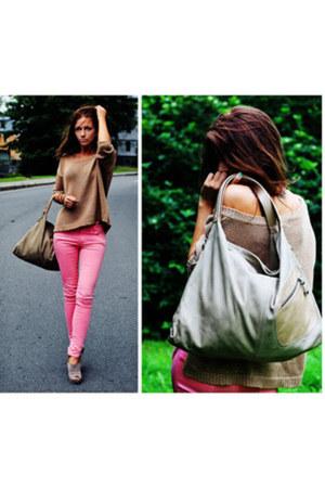bubble gum Zara jeans - beige Francogiazzi bag - tan Zara blouse