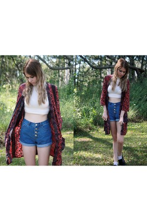 cotton Urban Outfitters cardigan - Trift Store shorts - crop top asos top