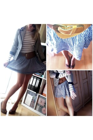 striped H&M blazer - striped hollister skirt - striped H&M top - peep toed Micha