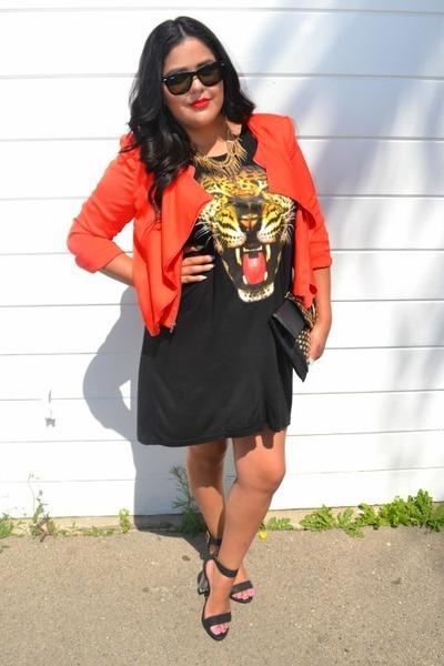 H&M dress - BCBG jacket - Ray bans sunglasses - transparent lola shoetique heels