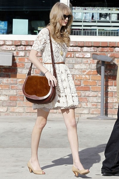 nude shoes - ivory dress - dark brown bag