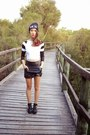 Shibuya-109-hat-white-koogal-top-leather-skirt