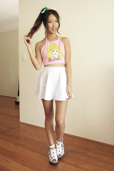 white City beach skirt - light pink halter Everland top - white zu sandals