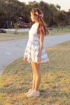 light blue striped Stylenanda dress - light pink Windsor Smith shoes