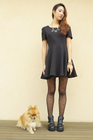 shoe show boots - Stylenanda dress - sisters stockings
