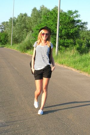 black Primark hat - white H&M blouse - black H&M vest - black pull&bear shorts -