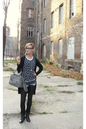 black Primark cardigan - navy Primark blouse - navy DIY shorts - gray Topshop ba