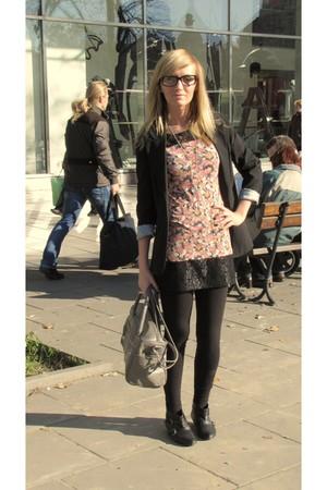 black vintage blazer - Primark dress - black H&M leggings - heather gray Topshop