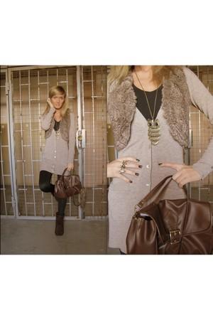 beige Terranova vest - beige Primark cardigan - black Stradivarius leggings - br