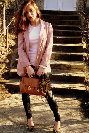 pink spring H&M blazer - black leather random brand leggings