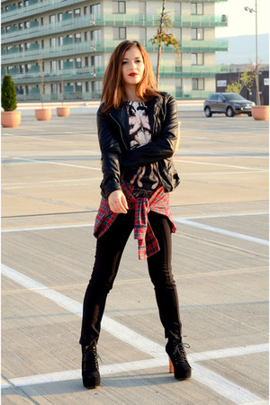 red grunge thrifted vintage shirt - black super high Jeffrey Campbell boots