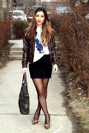 dark brown leather Terranova jacket - white black detailed Zara t-shirt