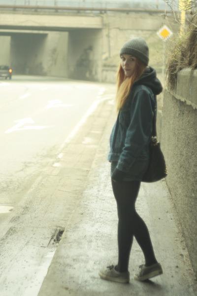 gray H&M hat - heather gray Fallen shoes - blue Levis jacket