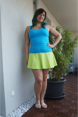 lime green H&M skirt - beige Graceland sandals - turquoise blue H&M top