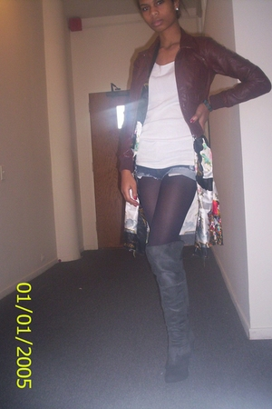 H&M jacket - Hanes shirt - China cardigan - Express shorts - walgreens tights -