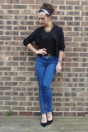 black new look jacket - blue new look jeans - black new look top