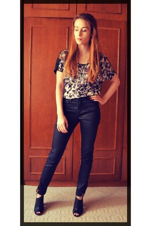 navy denim H&M jeans - black patterns H&M blouse - black leather H&M heels