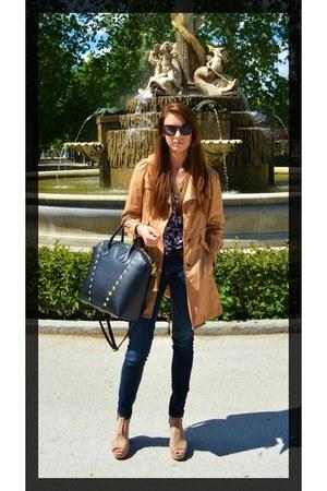 denim H&M jeans - ballon coat hada coat - H&M shirt - golden studs H&M bag