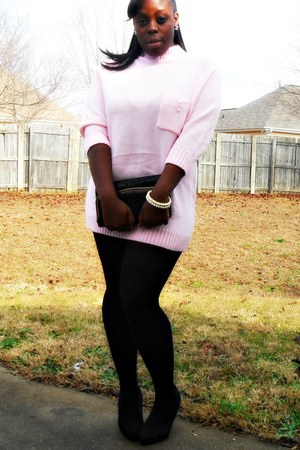 light pink dress - black tights - blackgold purse