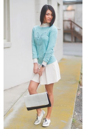 Target sweater - lace asos blouse - pleated Forever 21 skirt
