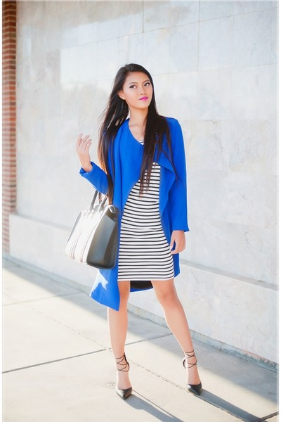 What color blazer with black and white dress