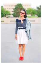 light blue denim abercrombie and fitch jacket - ivory Gap skirt