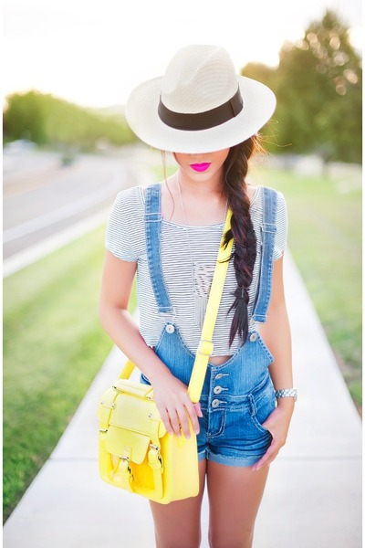 yellow satchel daily look bag - beige Forever 21 hat