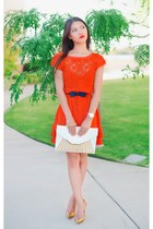 carrot orange lace Jessica Simpson dress - white clutch MMS bag