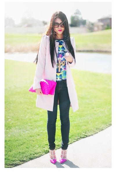light pink pink H&M coat - navy skinny Forever 21 jeans