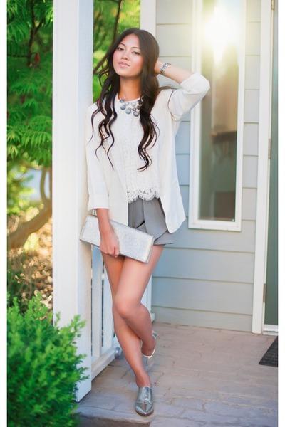 ivory Forever 21 blazer - heather gray origami shorts Forever 21 shorts