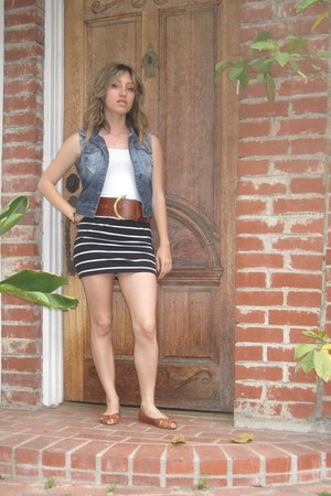 brown vintage belt - black Target skirt - denim vest - brown Lucky Brand flats