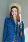 Amethyst-hawaaian-vintage-dress-tan-wide-brimmed-vintage-hat