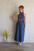 navy maxi dress vintage dress