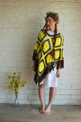 White-vintage-dress-yellow-fringe-vintage-cape