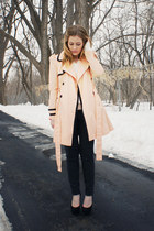 peach Forever 21 jacket - dark gray JCrew pants - black suede Loris Shoes heels