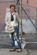 beige thrift blazer - white Unique Thrift Store sweater - blue Bells jeans - Uni