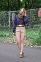 vintage blouse - Garage Sale Find belt - vintage Wilsons Leather shorts - vintag
