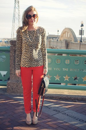 red JCrew pants - black vintage bag - camel JCrew top - nude Aldo heels