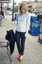 light blue denim American Eagle shirt - dark gray trousers JCrew pants - orange