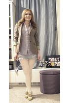 brown JCrew blazer - blue Target shirt - Target skirt - white Target tights - go