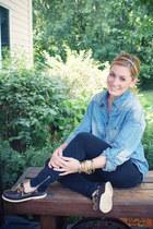gold vintage bracelet - dark brown Sperrys shoes - blue denim Forever 21 shirt