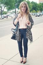 leopard print Aldo scarf - navy Forever 21 jeans - black bag