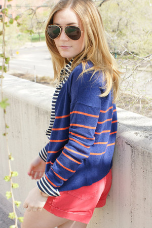 blue American Eagle cardigan - red American Apparel shorts - navy JCrew top