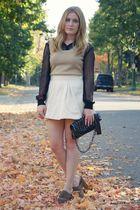 black H&M blouse - beige vintage vest - Forever21 skirt - black Big Buddha speci